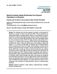 Molecular Sciences Methyl Parathion Masks Withdrawal from Physical ...