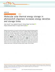 Molecular solar thermal energy storage in photoswitch ... - Nature