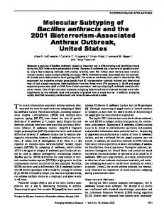 Molecular Subtyping of Bacillus anthracis and the 2001 ... - CDC stacks