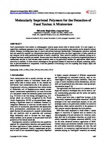 Molecularly Imprinted Polymers for the Detection of Food Toxins: A