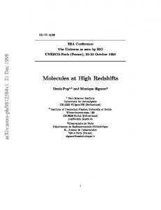 Molecules at High Redshifts