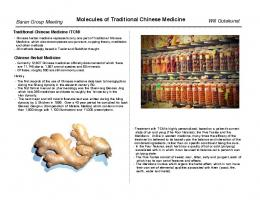 Molecules of Traditional Chinese Medicine