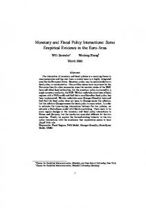 Monetary and Fiscal Policy Interactions: Some Empirical Evidence in ...
