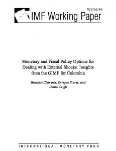 Monetary and Fiscal Policy Options for Dealing with ... - CiteSeerX