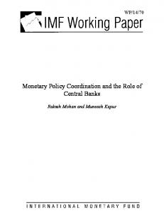 Monetary Policy Coordination and the Role of Central Banks - IMF
