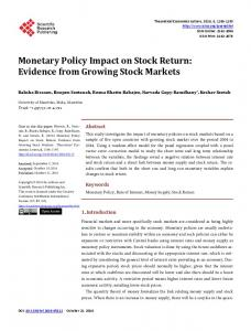 Monetary Policy Impact on Stock Return: Evidence from Growing Stock ...