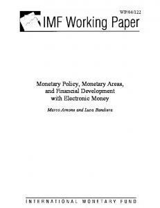Monetary Policy, Monetary Areas, and Financial ... - CiteSeerX