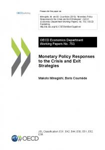 Monetary Policy Responses to the Crisis and Exit ... - OECD iLibrary