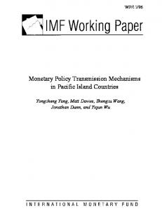 Monetary Policy Transmission Mechanisms in Pacific ... - SSRN papers