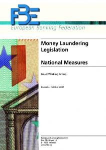 Money Laundering Legislation National Measures