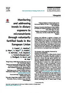 Monitoring and addressing trends in dietary ...