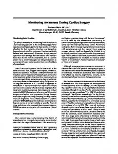 Monitoring Awareness During Cardiac Surgery ... - Semantic Scholar