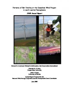 Monitoring bat and bird fatalities at the Casselman Wind Energy ...