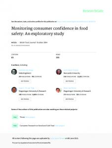 Monitoring consumer confidence in food safety: An ...