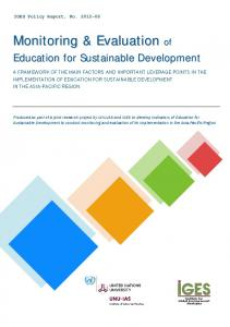 Monitoring & Evaluation - (IGES) Publications