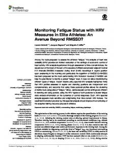 Monitoring Fatigue Status with HRV Measures in Elite Athletes - Core