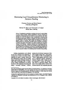 Monitoring Local Comprehension Monitoring in Sentence Reading