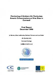 Monitoring of Ambient Air Particulate Arsenic ...