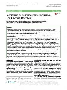 Monitoring of pesticides water pollution-The Egyptian River Nile ...