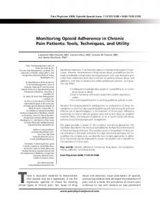 Monitoring Opioid Adherence in Chronic Pain Patients - Pain Physician