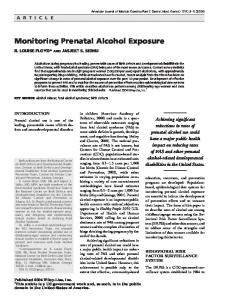Monitoring prenatal alcohol exposure - Wiley Online Library