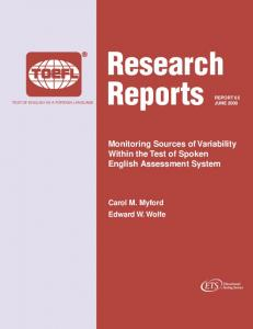 Monitoring Sources of Variability Within the Test of Spoken English ...