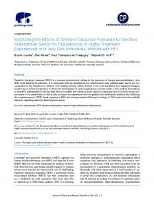 Monitoring the Effects of Tenofovir Disoproxil Fumarate to Tenofovir ...