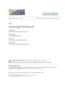 Monitoring Time Intervals - ScholarlyCommons - University of