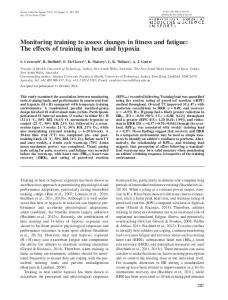 Monitoring training to assess changes in fitness and fatigue: The ...