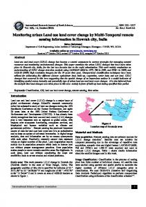 Monitoring urban Land use land cover change by Multi ... - ISCA