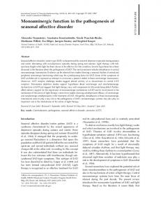 Monoaminergic function in the pathogenesis of ... - Oxford Journals