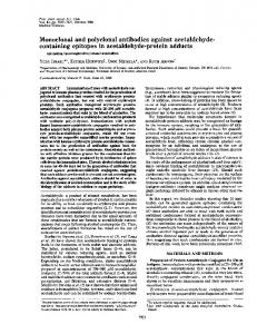 Monoclonal and polyclonal antibodies against acetaldehyde ...