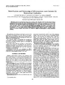 Monoclonal Antibodies - Journal of Clinical Microbiology