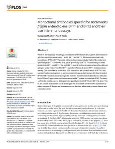 Monoclonal antibodies specific for Bacteroides