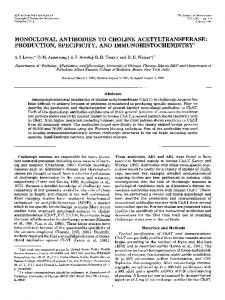 monoclonal antibodies to choline acetyltransferase: production ...