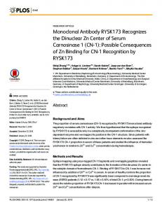 Monoclonal Antibody RYSK173 Recognizes the ... - Semantic Scholar