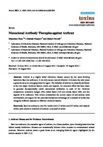 Monoclonal Antibody Therapies against Anthrax - BioMedSearch