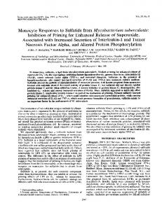 Monocyte Responses to Sulfatide from Mycobacterium tuberculosis ...