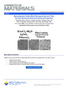 Monodisperse Noble-Metal Nanoparticles and Their Surface ...