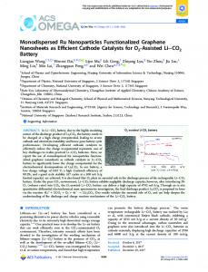 Monodispersed Ru Nanoparticles Functionalized ... - ACS Publications