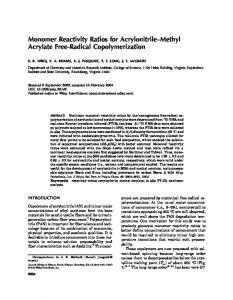 Monomer reactivity ratios for acrylonitrile-methyl acrylate free-radical