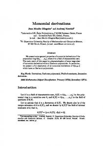 Monomial derivations - LIX-polytechnique