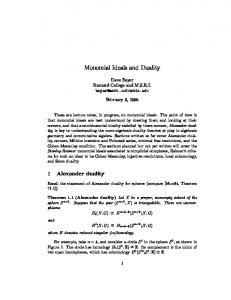 Monomial Ideals and Duality - Columbia Math Department