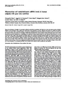 Mononuclear cell metallothionein mRNA levels in ...