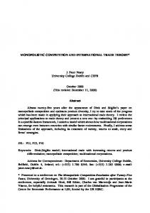 Monopolistic Competition and International Trade Theory - CiteSeerX