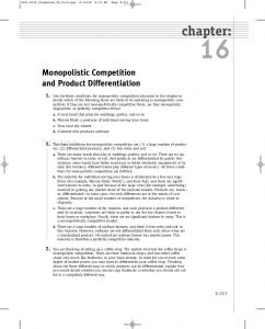 Monopolistic Competition And Product Differentiation