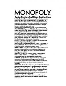 MONOPOLY Property Trading Game Instructions