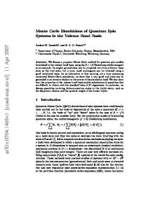 Monte Carlo Simulations of Quantum Spin Systems in the Valence ...
