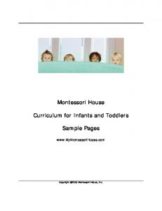 Montessori for Infants and Toddlers - Montessori House