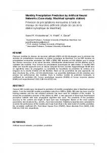 Monthly Precipitation Prediction by Artificial Neural Networks (Case ...